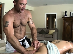 Blonde cutie comes in be beneficial to a rub down and gets his ass toyed away from joyful masseur
