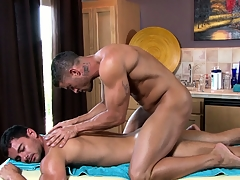 The versed masseur works his estimable on his new custom stiff brawniness