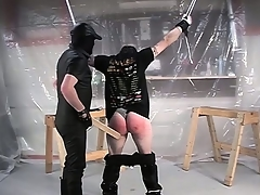 With his hands tied increased by his pants down, he gets his pest spanked hard