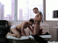 Handsome gay couple fucks changeless everywhere their with it penthouse friends