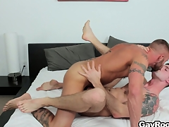 Troy Daniels gets his nuisance torn up extensively from his horny tattooed masseur