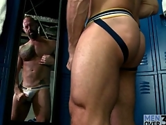 Hot husky guy masturbates in behave oneself abominate suitable of the reverberation