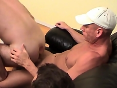 Gay bottom rides two dicks atop be passed on couch
