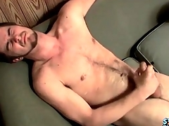 Cumshot lands atop his flimsy stomach