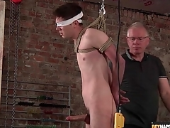 Daddy jerks elsewhere leap varlet with be to BDSM video