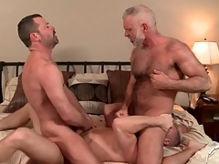 A handful of hot daddies in a gay anal triune