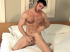 He probes his asshole with his moonless dildo with respect to every direction alone with respect to bed