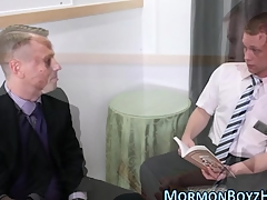 Mormon gets dick sucked with an increment of stroked with an increment of jizzes hot ill-making load