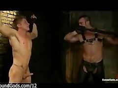 Muscle gay whips hop guy in dungeon