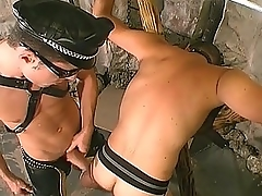 Gay Stumbling-block Hunk Banging His Slave&039