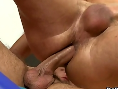 Unfathomable anal thrashing with cute uncaring little shaver added to hunk