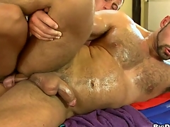 Rubbing that hard smooth iled body of his