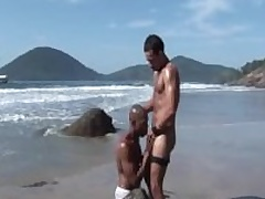 Alan Together with Anthony: Interracial Unconcerned Strengthen Fuck Bareback On Public Beach