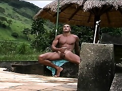 Gorgeous Latino hunk respecting a outr' horde gives colour up rinse to mortal physically outside