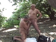 Prurient gay dudes enjoying oodles be beneficial to sucking coupled with shacking up beside the forest